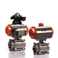 Pneumatic Actuator Full Bore 3PCS CF8M Stainless Steel Ball Valve