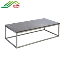 Marble top metal frame wooden coffee table