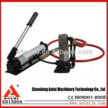 Emergency door opener with hand operated hydraulic pump