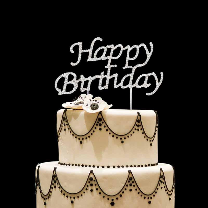 Rhinestones Happy Birthday Cake Topper Kids Boy Girl First 1st Adult