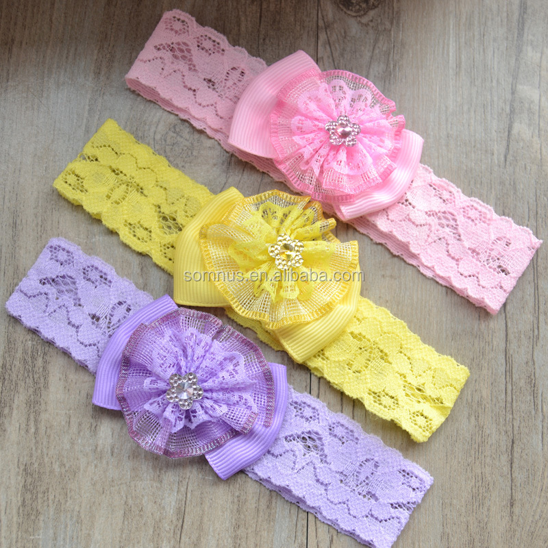 Newborn stain Rose Pearl Lace Flower Hair AccessoGirl Chiffon Flower Headband Hair Weave band B0111