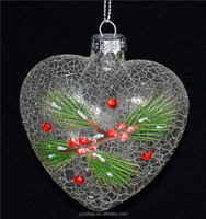 New trend glass product, 6cm heart-shaped craft as xmas imported gift items from china from hand blown glass factory in china