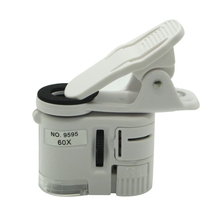 60X Zoom LED Clip-On Microscope Lens LED Magnifier Cellphone Magnifier UVLight Clip-on Micro Lens