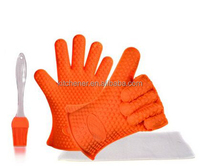 Silicone Oven Mitts for Barbecue & Kitchen-heat Resistant Grilling Cooking Gloves with BBQ Grill Brush Set,double Non-slip Profe