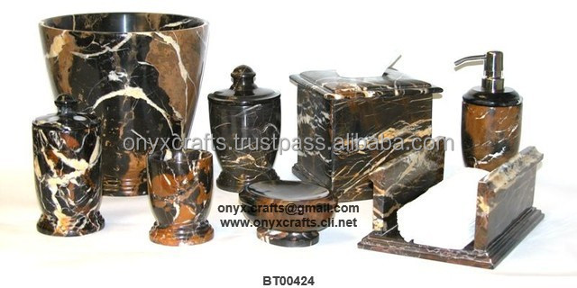 Black and Gold Marble Bathroom Accessories