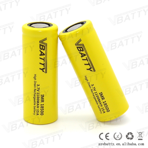 High quality vbatty 3.7v 1100mah icr18500 li-ion battery for 18500 battery vv mod