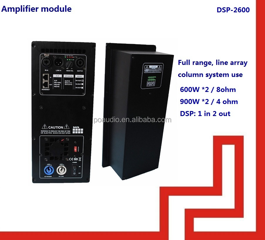 1 in 2 out full range 600w digital plate amplifier with dsp