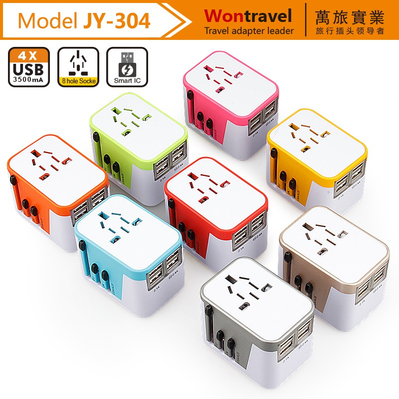 Best quality wholesale CE FCC Universal travel adapter with usb charger for cell phone quick charging