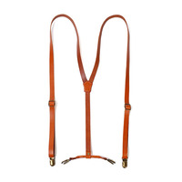 Wholesale Elastic Stretch Y-back Top Grain Genuine Skinny Brown Leather Suspenders for Men