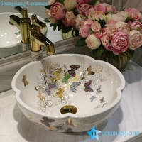 Butterfly pattern series flower shape graceful hotel furnishing ceramic sink bowl LT-1607- 07/ 09/ 12/ 20/ 24/ 30/ 32