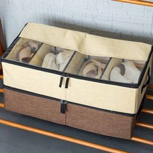 Anti dust moistureproof heavy duty fabric transparent cotton linen large shoe box storage