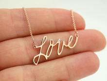 14K Rose Gold Love Necklace custom words letter name necklace