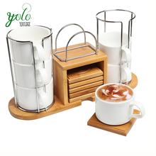Bamboo coffee or tea serving set with coaster, storage rack and ceramic cup