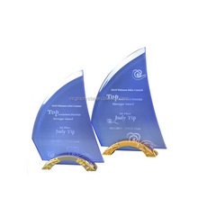 Unique shipping boat shape blue acrylic trophy awards plaques with golden base
