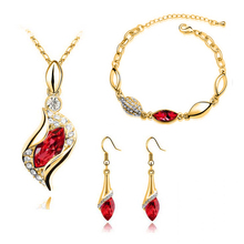 Wholesale austrian crystal Bridal Jewellery Set drop necklace earring marquis bracelet sets for lady