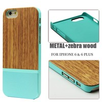 Luxury wood aluminum hybrid hard back cover for iphone 6 wood metal phone case