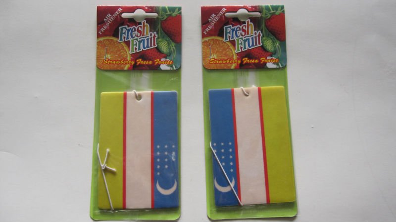 ecofriendly hanging car paper air freshener as promotional gift with national flag shape