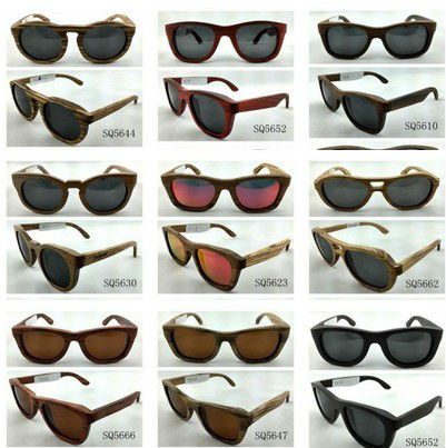 Ebony Wooden&bamboo sunglasses flat top vintage polarized lens waterproof brand sunglasses