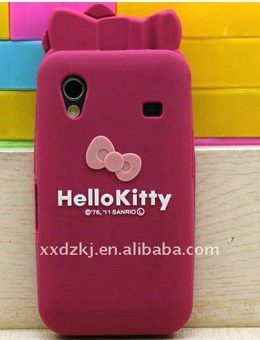 very fashion kitty cat shape silicone case for samsung galaxy ace s5830