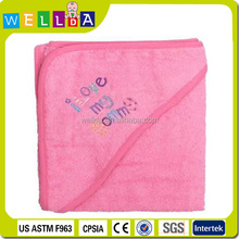 soft print and embroidery 100% cotton terry baby hooded towel