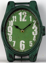ANTIQUE FOREST GREEN WATCH SHAPE TABLE TOP DECORATIVE METAL CLOCK
