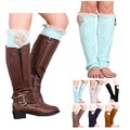 Women winter Flower Boot Cuffs Knit Knee High Leg Warmers With Lace Trim Boot Toppers