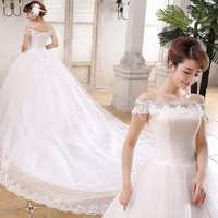 Wholesale Korea Style Beaded Lace Bridal Wedding Dress/Gown with fish tail
