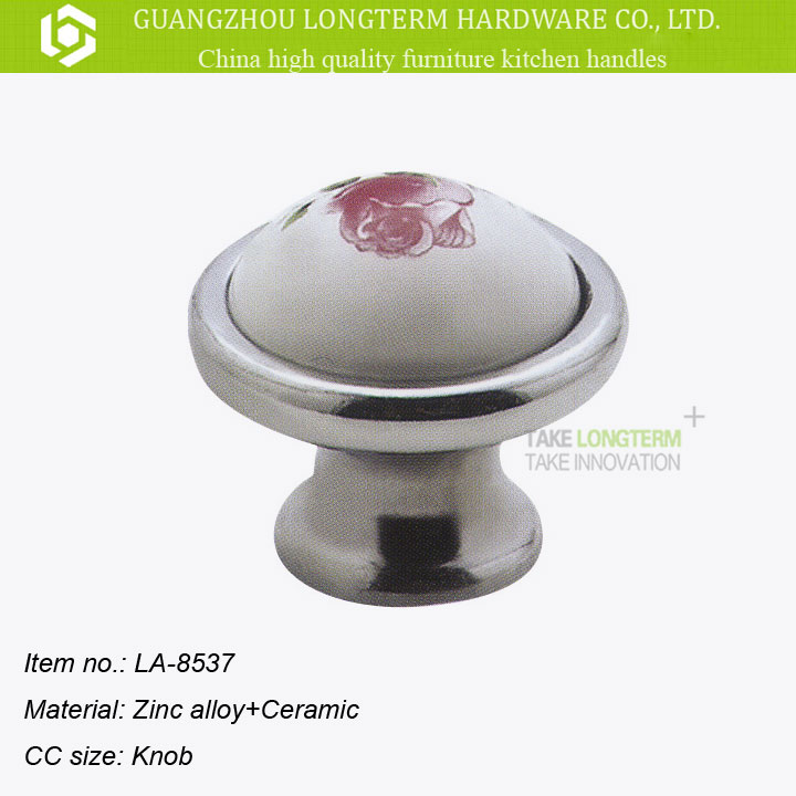 Flower hand painted round zinc ceramic knob for furniture