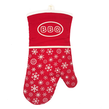 Christamas popular choice nonslip heat resistant bbq oven glove with printed silicone pattern