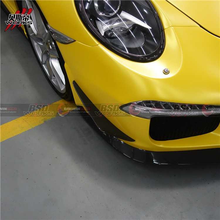 Carbon Fiber Front Canards For 2013-2015 Porsche 911 991 GT3 Bumper Front Lip