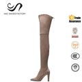Environmental friendly vegetarian micro suede pointed toe elegant overknee high heel boots