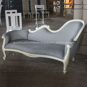 Living Room Sofas - Antique French Style White Painted Sofa