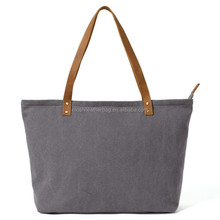 Waxed Canvas with Leather Tote Bag, Shoulder Bag, School Handbag 14043