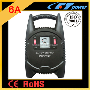 Europe 230V power supply car battery charger GS CE 6AMP Portable battery car charger output 6V+12V auto battery charger