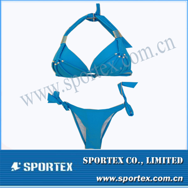 HS-14022 metal ring bikini for ladies with full sky blue color