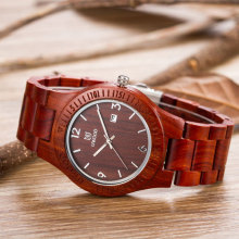 High quality red sandal wood watch logo accept OEM, Mens wood watch luxury wholesale