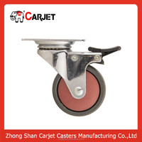 caster wheel 3 inch solid small rubber wheels with lock