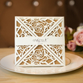 Elegant Square White Laser Cut Wedding Invitation Card With Belly Band
