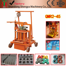Ghana best selling product QMR2-45 manual cement brick shaping machine small scale movable concrete block forming equipment
