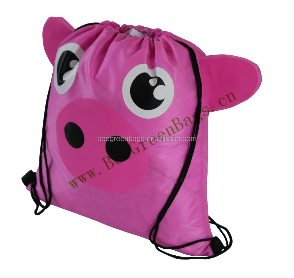 Wholesale Promotional cute pink pig design drawstring backpack kid bags