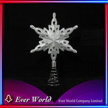 Quality Christmas Plastic/Steel Bright Silver 3-D Star Tree Top for Christmas Tree Decoration