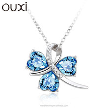 OUXI Big Sale Lucky Clover fashion necklace austrian crystal jewelry