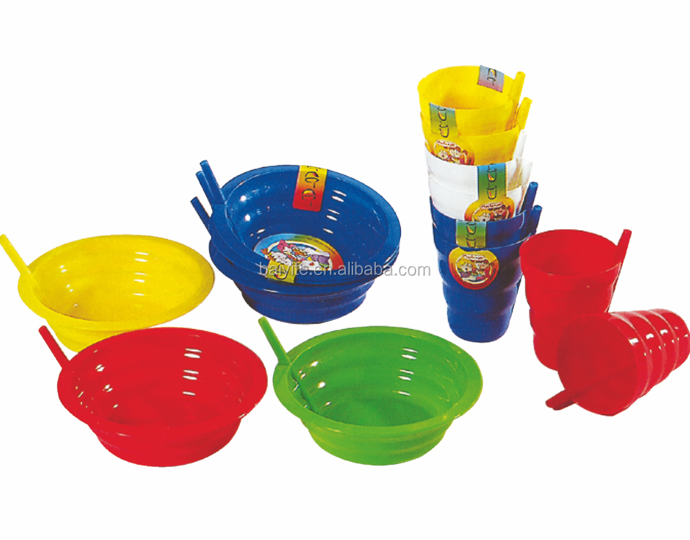 650ml personalized plastic food bowls with straw