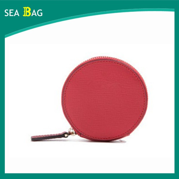 2016 New Arrival Round-Shaped Cute Fashion Lady Mini Red Leather Coin Purse Wallet For Girl