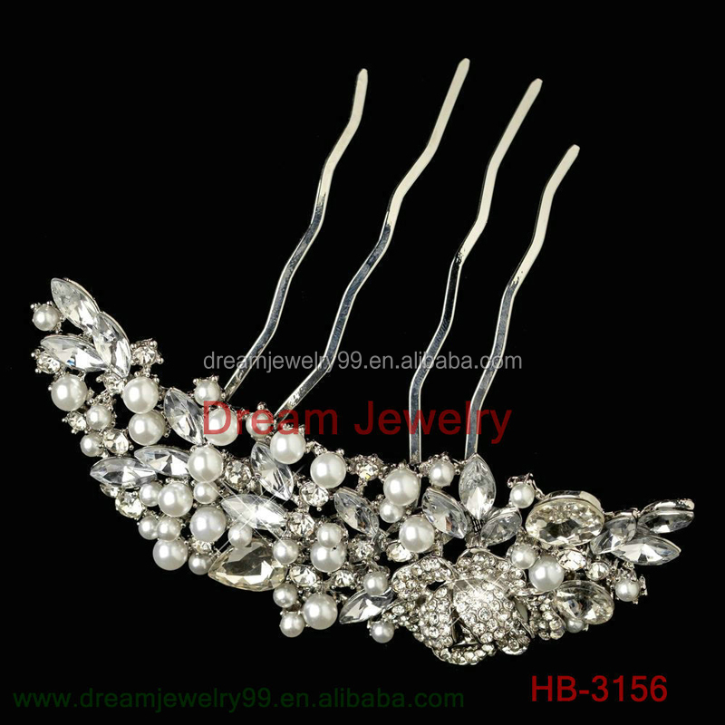 Clear Rhinestone Crystals Wedding Bride Bridal Floral Hair Comb Head Pieces Hair Pins Jewelry Accessories