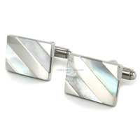 Elegant design new 316l stainless steel clasical mens & ladies mother of pearl cuff links