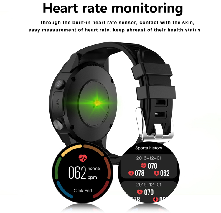 Round screen Sport Smartwatch 2018 Android with heart rate monitor blood pressure