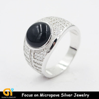 china supplier black onyx men ring 925 silver jewelry