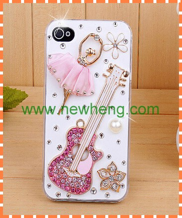 Luxury Diamond piano ballet girl pc case for iphone 5 5G