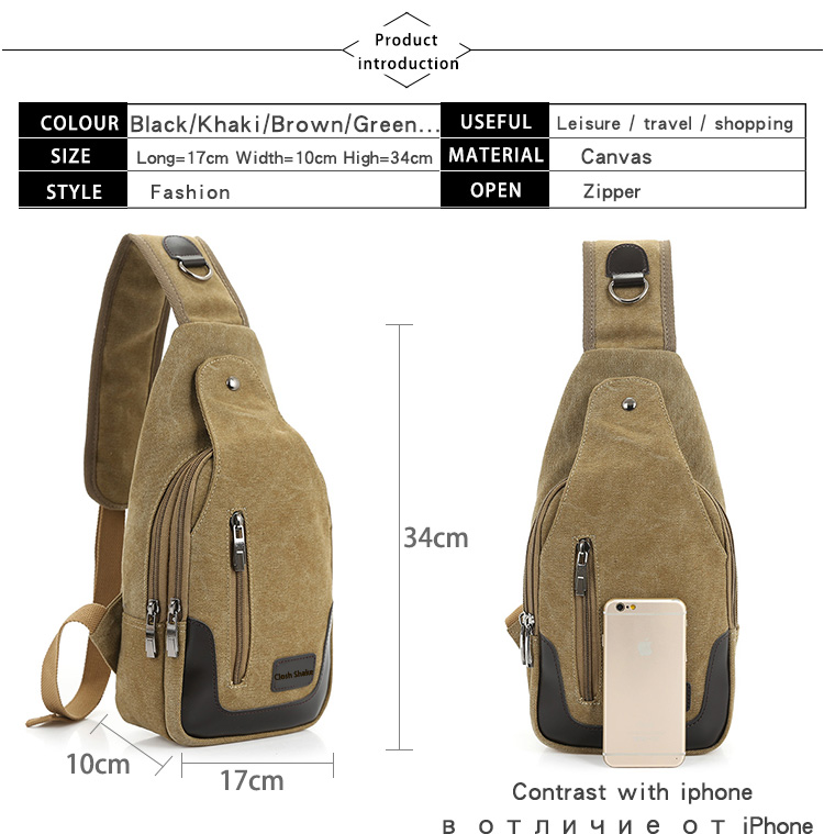 2017 New Casual Men's Canvas PU Leather Solid Multi Pockets Messenger Shoulder Back Day pack Sling Chest pack Bag